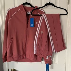 Pink Adidas track suit set jacket and pants size L